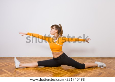 pilates woman stability ball gym fitness yoga exercises girl - stock photo