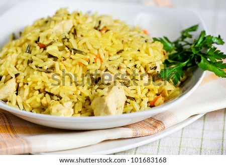 Pilau with chicken - stock photo