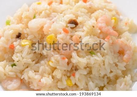 pilau with shrimps - stock photo