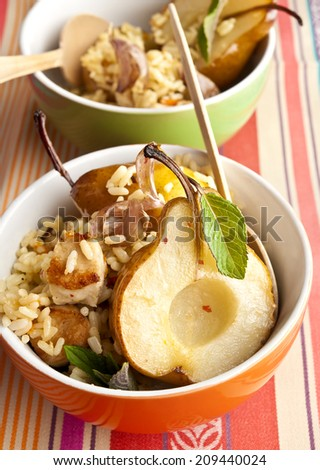 pilav pears chiken - stock photo
