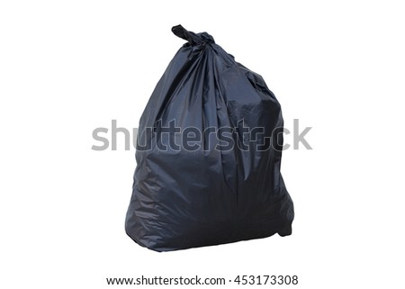 Pile black garbage bag isolated on white background