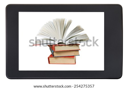 pile books on screen of e-book reader isolated on white background