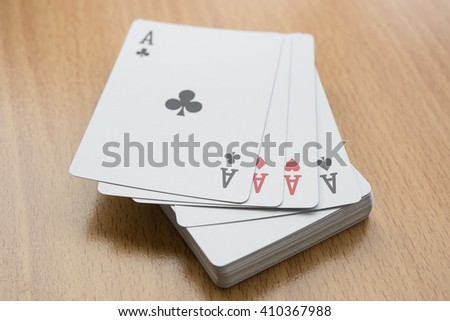 pile cards on desk
