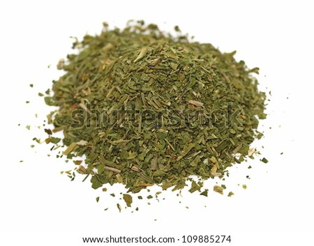 Pile chopped dried parsley leaves isolated on white background - stock photo
