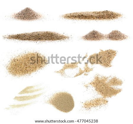 pile desert sand isolated on white background, with clipping path (high resolution)