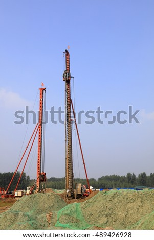 pile driver at the site