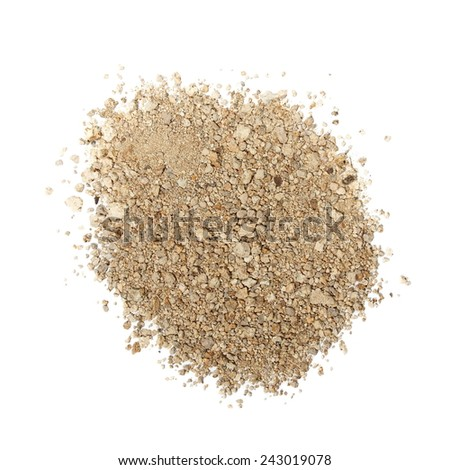 pile dry dirt isolated on white background with clipping path