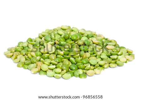 Pile dry split green peas  isolated on white background. Great for soups, puree. - stock photo
