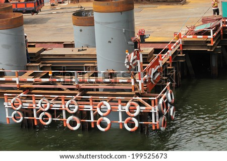 Pile foundation in river under-construction