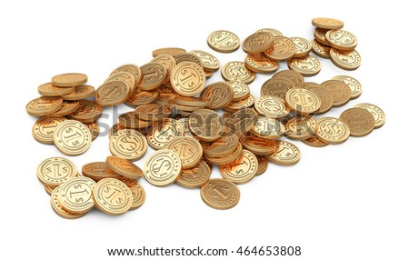 Pile golden coins isolated on white. 3d illustration high resolution