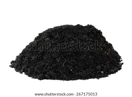 pile heap humus black soil for plant or design element isolated on white with work path