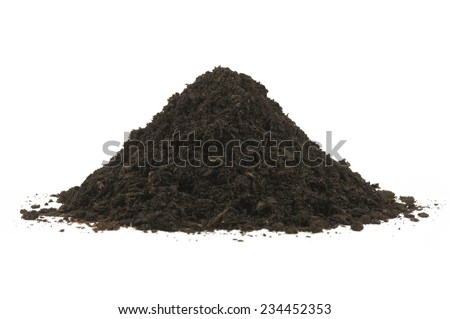 Pile heap of soil humus isolated on a white background. Stack of black earth.
