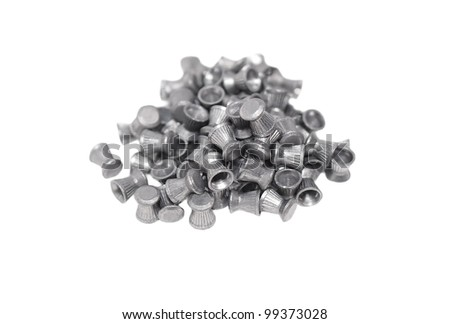 Pile lead pellets for an air rifle isolated on white - stock photo
