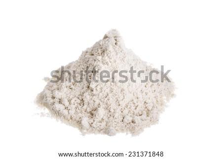 Pile milk whey protein. On a white background. - stock photo