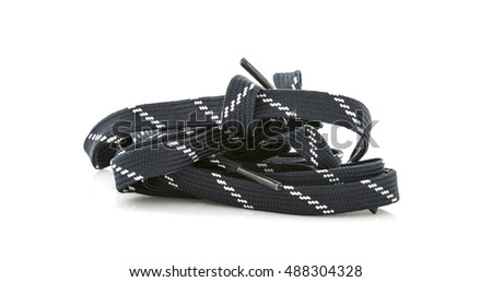 Pile o fShoe laces on a white background