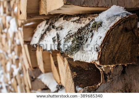 Pile of a birch firewood