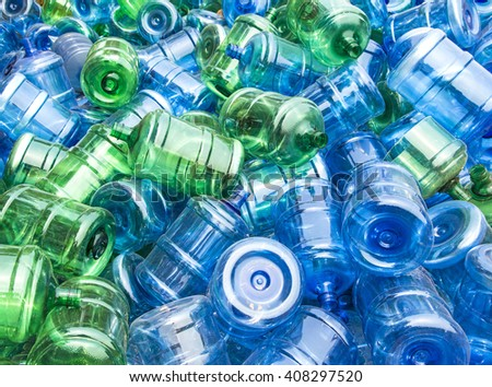 Pile of a large of plastic drinking water bottles - stock photo