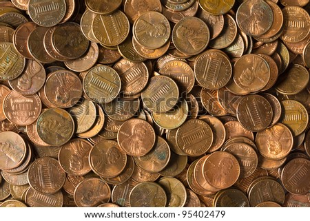Pile of American coins. - stock photo