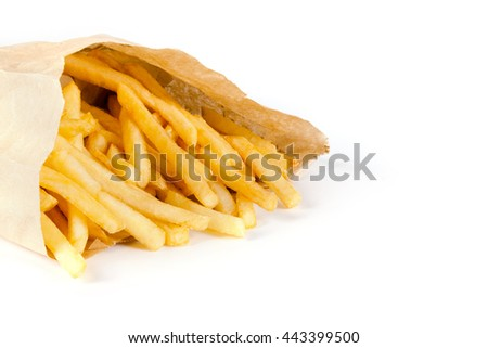 pile of appetizing french fries on a white background