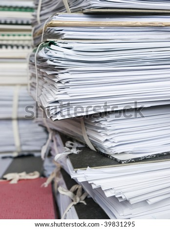 Pile of archived files and folders