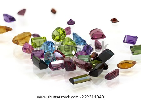 Pile of Assorted Gem - stock photo