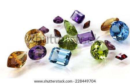 Pile of Assorted Gemstones - stock photo