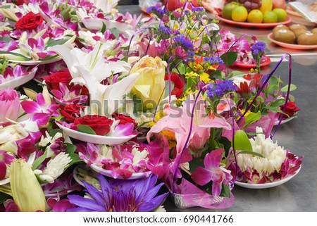 Pile beautiful colorful flowers on white stock photo 690441766 pile of beautiful and colorful flowers on white foam dishes mightylinksfo