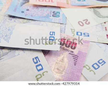 Pile of bills money, collected thai baht money 