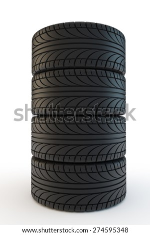 pile of black car tires - stock photo
