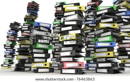 Pile of black folders with one red folder - stock photo