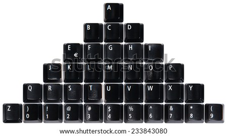 Pile of black keyboard keys isolated on white background - stock photo