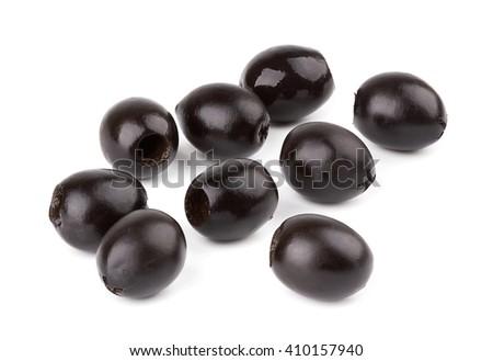 Pile of black olives on white background - stock photo