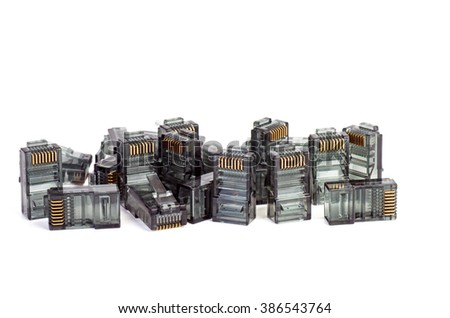 Pile of black RJ45 connectors isolated on white background - stock photo
