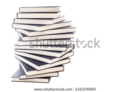 Pile of blue books with copy space on white background  - stock photo