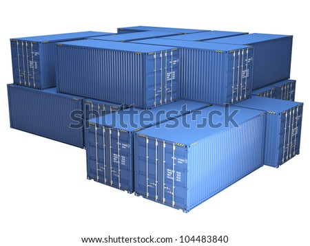 Pile of blue freight containers, isolated on a white background