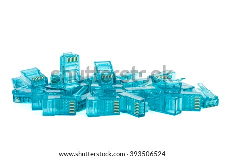 Pile of blue RJ45 connectors isolated on white background - stock photo