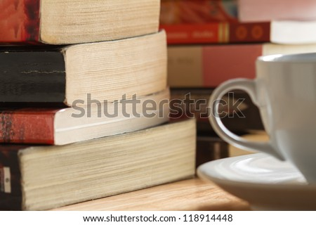 pile of book after reading on the table - stock photo