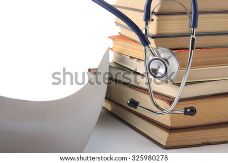 pile of books and stethoscope