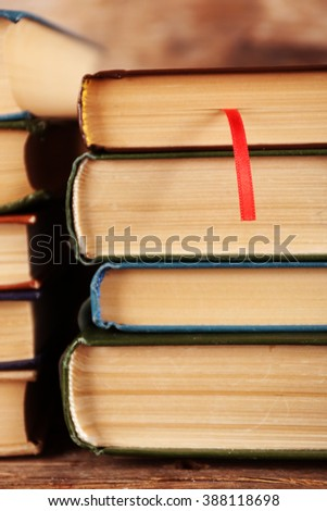 Pile of books, close-up - stock photo