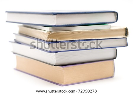 Pile of books isolated on the white background