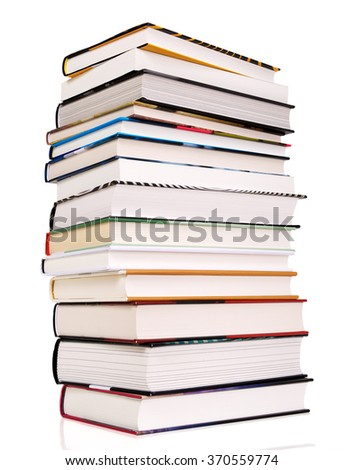 Pile of books isolated on white. Contains clipping path.