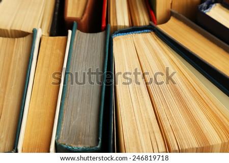 Pile of books, macro view - stock photo