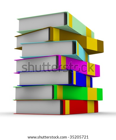 pile of books on white background. Isolated 3D image