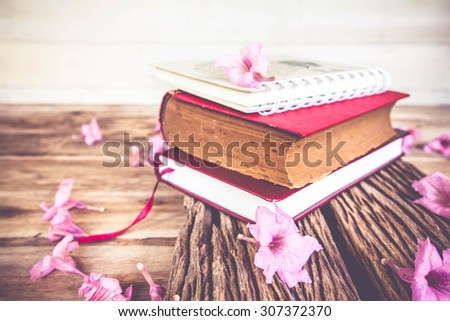 Pile of books on wooden vintage table, blooming flowers in the background. - stock photo