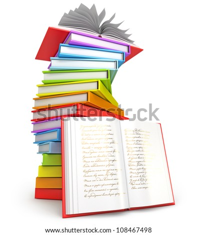 Pile of books. Open book. Icon isolated on white background. 3d render - stock photo
