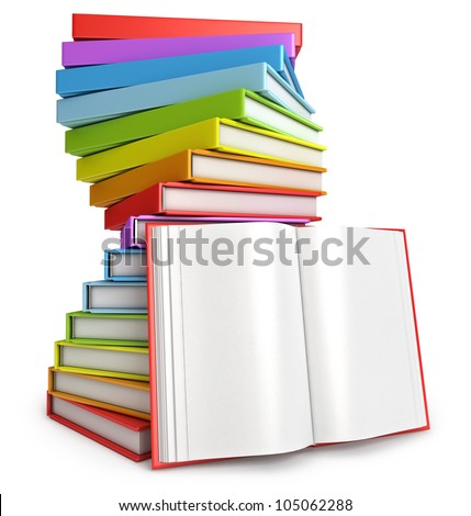 Pile of books. Open book. White background. 3d render - stock photo