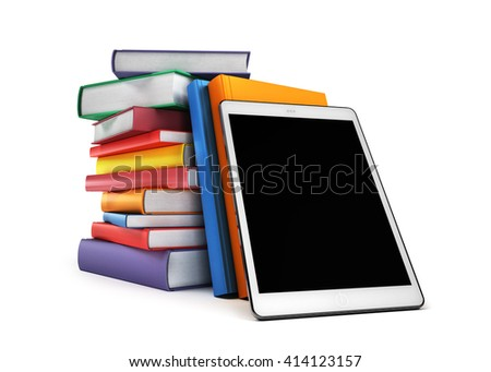 Pile of books with a tablet in the foreground, isolated on white background, 3d illustration