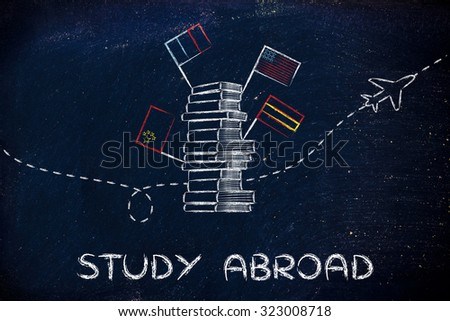 pile of books with flags and airplane flying in the background, studying abroad - stock photo