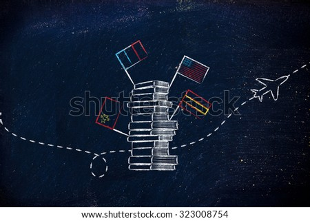 pile of books with flags and airplane flying in the background, studying foreign languages - stock photo