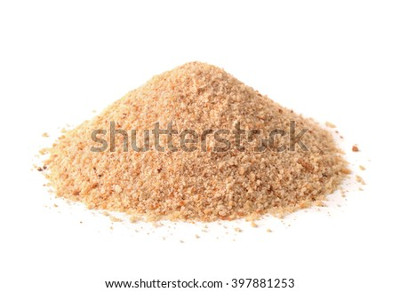 Pile of breadcrumbs isolated on white